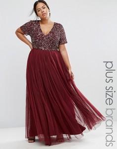 Тюлевое платье макси с V‑образным вырезом и пайетками Lovedrobe Luxe - Красный
