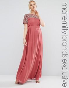 Платье макси для беременных с жемчужной отделкой Maya Maternity - Розовый