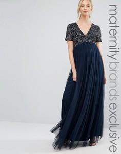 Тюлевое платье макси с v-образным вырезом и пайетками Maya Maternity - Темно-синий