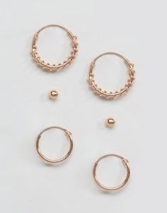 Набор сережек с покрытием из розового золота Kingsley Ryan - Золотой