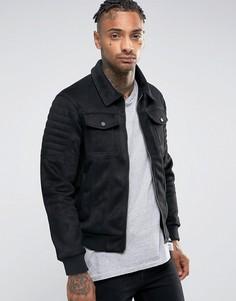 Байкерская куртка из искусственной замши Criminal Damage - Черный