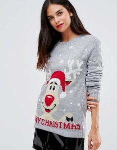 Джемпер с надписью Merry Christmas и оленем Club L - Серый