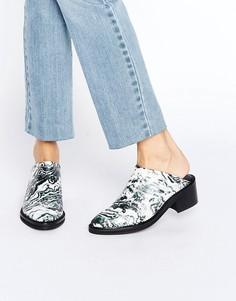 Туфли без задника с мраморным принтом Miista - Белый