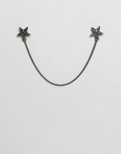 Уголки для воротника в форме звезд с цепочкой Reclaimed Vintage - Серебряный Design B London