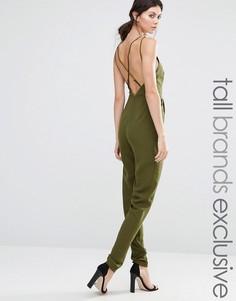 Комбинезон с глубоким вырезом True Decadence Tall - Зеленый