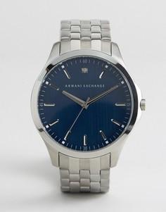 Серебристые наручные часы с синим циферблатом Armani Exchange AX2166 - Серебряный