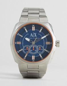 Серебристые наручные часы-хронограф с синим циферблатом Armani Exchange AX1800 - Серебряный
