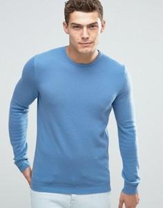 Джемпер из мериносовой шерсти с круглым вырезом United Colors of Benetton - Синий