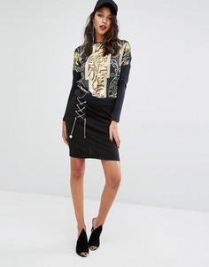 Юбка со шнуровкой цепочкой Versace Jeans - Черный