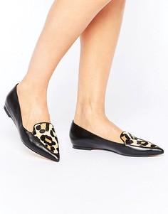 Туфли на плоской подошве с леопардовой отделкой на союзке Dune Austin - Черный