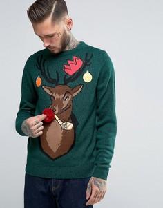 Рождественский джемпер с северным оленем Threadbare - Зеленый