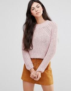 Розовый вязаный джемпер с косами Lavand - Розовый