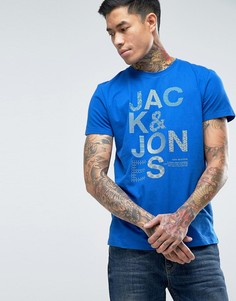 Футболка с принтом на груди Jack & Jones - Синий