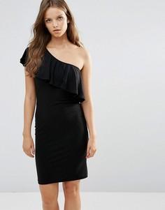 Платье с оборкой на одно плечо Minimum - Черный