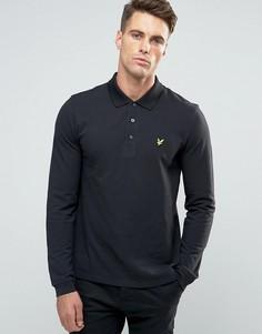 Черная футболка-поло с длинными рукавами и логотипом-орлом Lyle & Scott - Черный