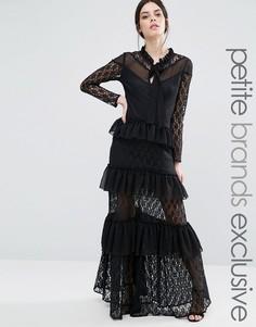 Ярусное платье макси с длинными рукавами, кружевом и оборками True Decadence Petite - Черный