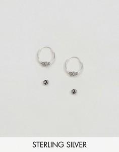 Набор серебряных сережек-гвоздиков и колец Kingsley Ryan - Серебряный