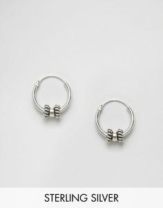 Серебряные серьги-кольца с отделкой Kingsley Ryan - Серебряный