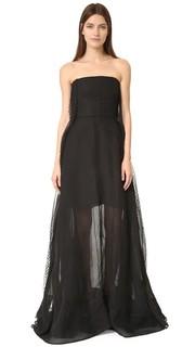 Вечернее платье без бретелек Rochas