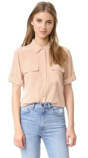Фирменная узкая блуза с короткими рукавами Equipment