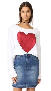 Широкий пляжный пуловер Sparkle Heart Wildfox
