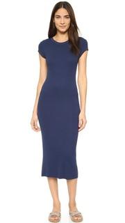 Платье с короткими рукавами из ткани в рубчик Enza Costa