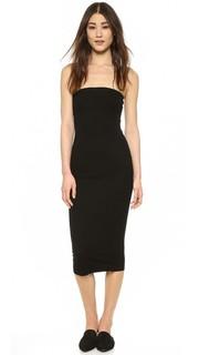 Платье без бретелек из ткани в рубчик Enza Costa