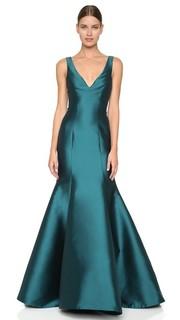 Вечернее платье с V-образным вырезом и подолом «русалка» Monique Lhuillier