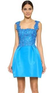 Комбинированное платье без рукавов с широкой юбкой Monique Lhuillier
