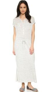 Льняное платье с фронтальной застежкой и завязками Vince