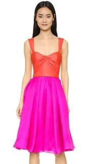 Платье с широкой юбкой из шелкового газара Reem Acra