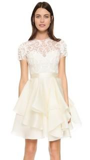 Коктейльное кружевное платье с вышивкой Marchesa