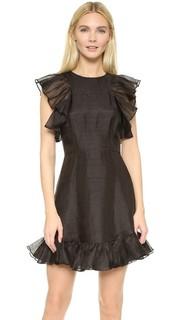 Льняное мини-платье с оборками Cynthia Rowley