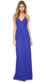 Вечернее платье косого кроя с шифоновой вставкой Michelle Mason