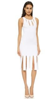 Платье без рукавов с бахромой и вырезами Cushnie Et Ochs