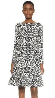 Прошитое платье с длинными рукавами Lela Rose