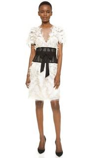 Коктейльное платье из тюля с перьями Marchesa