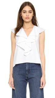 Блуза с оборками на вырезе Amanda Uprichard