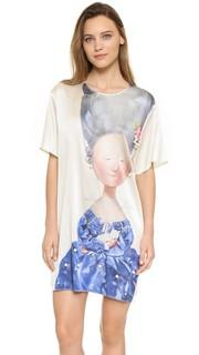 Платье Lady with Cat из шелка с принтом Anna K