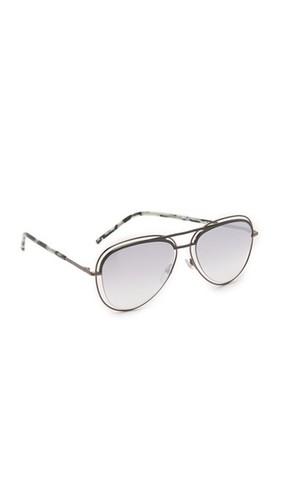 Солнцезащитные очки-авиаторы в двойной проволочной оправе