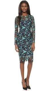 Платье-футляр с длинными рукавами Lela Rose