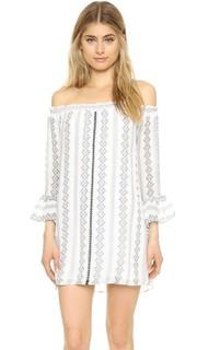 Мини-платье с открытыми плечами English Factory