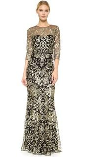 Вечернее платье с длинными рукавами и вышивкой Marchesa Notte