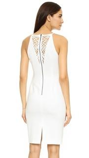 Длинное прямое платье с сетчатой спинкой Badgley Mischka Collection