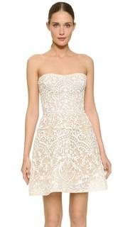 Мини-платье без бретелек с вышивкой Monique Lhuillier