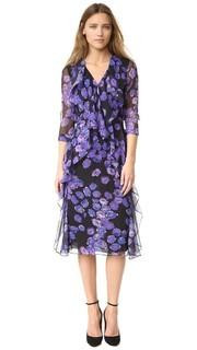 Платье с длинными рукавами из шифона с цветочным принтом Jason Wu