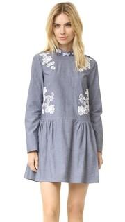 Платье с воротником-стойкой и цветочными аппликациями с вырезами Suno