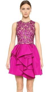 Коктейльное платье с цветочной вышивкой Marchesa