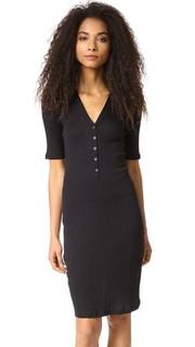 Платье из трикотажа в рубчик с застежкой спереди 6397
