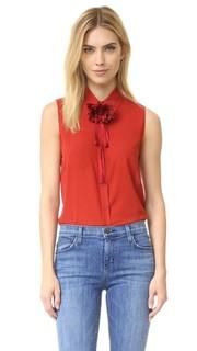 Блуза на пуговицах Teri с цветком Alice + Olivia